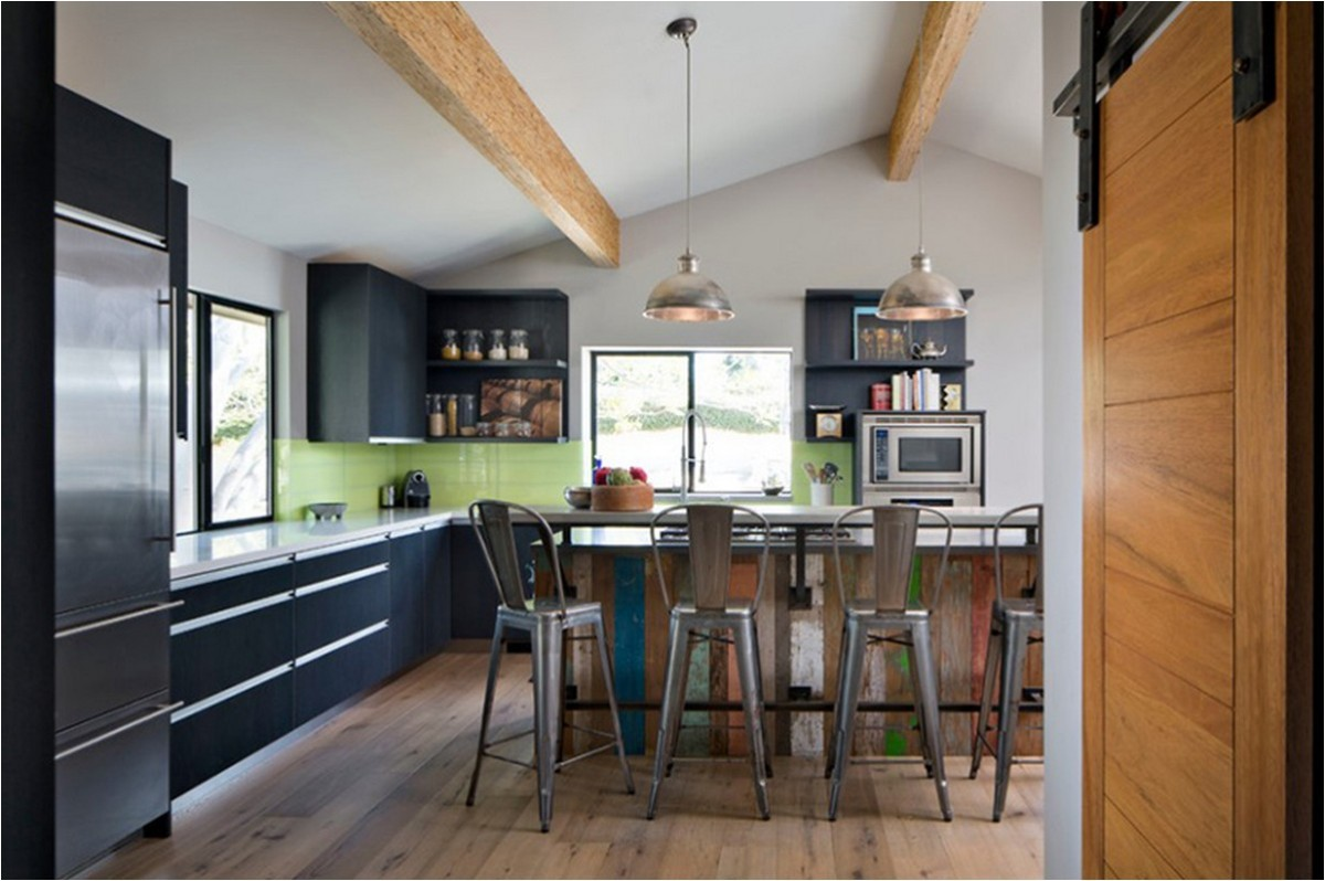 rustic-kitchen-tan-exposed-wood-ceiling-beams-gray-metal-tolix-bar-stools-back-colorful-salvaged-clad-island-white-polished-quartz-countertops-black-stain-maple-cabinet-silver.jpg